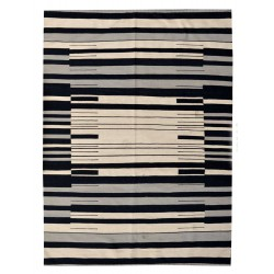 Black and white rug -New kilim - Contemporary pattern