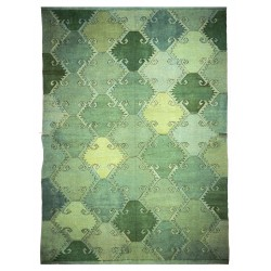 Green carpet -New kilim - Contemporary pattern
