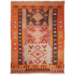 vintage rug orange and rose paris