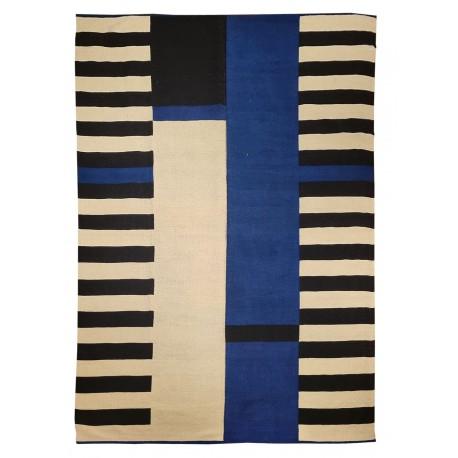 Tapis contemporain graphique bleu noir