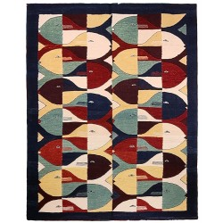 Rug contemporain with fish
